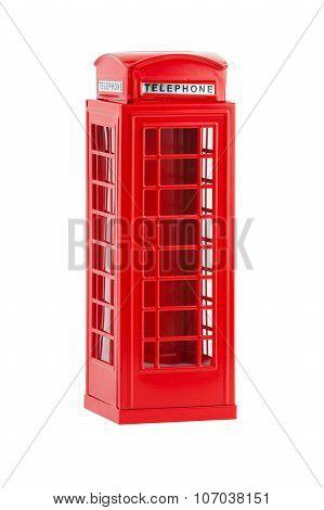 British telephone box, isolated on a white background