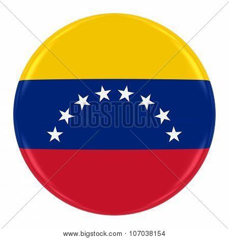 Venezuelan Flag Badge - Flag Of Venezuela Button Isolated On White
