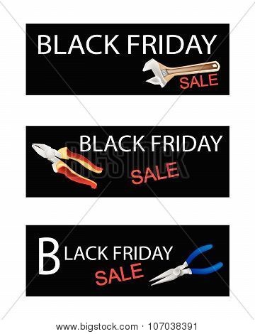 Wrench And Pliers On Black Friday Sale Banners