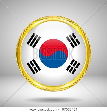 Flag of South Korea in GOLD