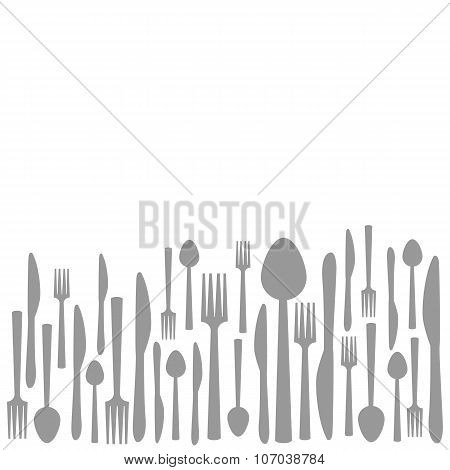 Fork Knife Spoon Abstract Gray Background