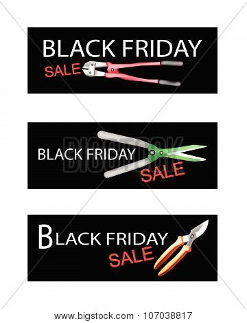 Gardening Equipment On Black Friday Sale Banners