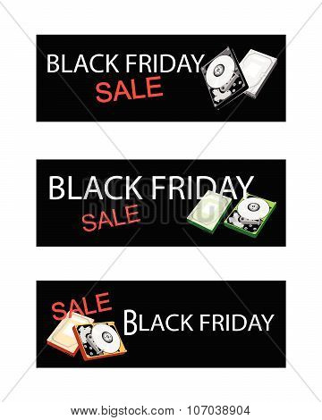 Computer Hard Disk On Three Black Friday Sale Banners
