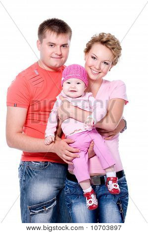Happy Young Famile With Beautiful Baby