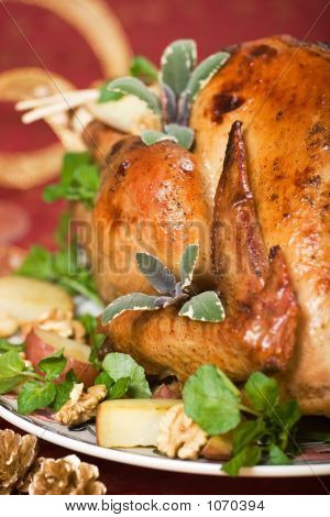 Closeup Of Christmas Turkey On Dinner Table