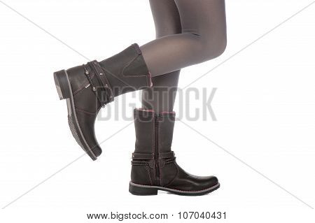 View of girl leather's boots -isolated on the white background.