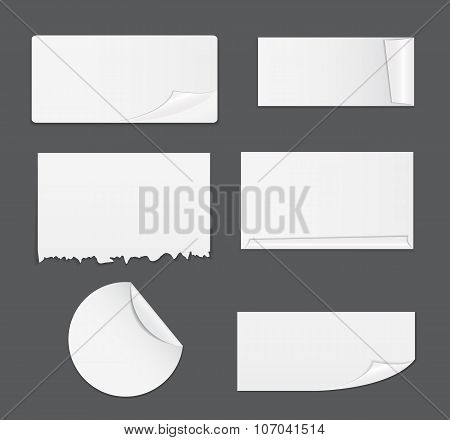 Set of White Paper Stickers Isolated on White Background.  Vecto
