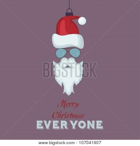 Merry Christmas Vintage Retro Typography Lettering Design Greeting Card with toy  hipster Santa back