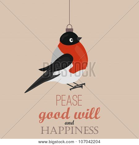 Merry Christmas Vintage Retro Typography Lettering Design Greeting Card with toy bullfinch, bird, sp