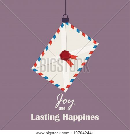 Merry Christmas Vintage Retro Typography Lettering Design Greeting Card with toy airmail envelope st