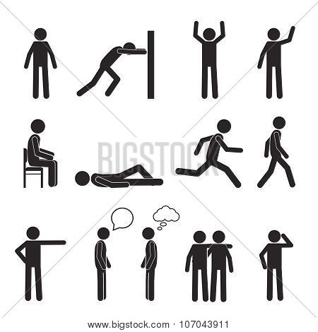 Man posture pictogram icons set. Human body action poses and figures. Vector illustration isolated o