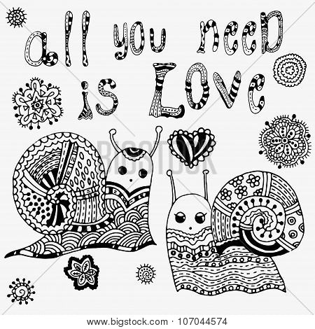 All that you need - this is love. Incredible snail silhouette with amazing patterns on the shell. Be