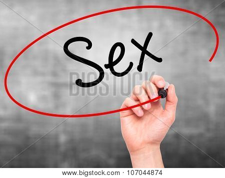 Man Hand writing Sex with black marker on visual screen.