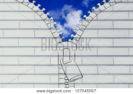 Zip Opening Up On A Blue Sky With Fluffy Clouds, Metaphor Of Optimism
