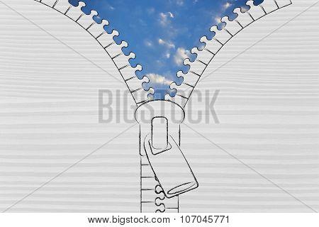 Zip Opening Up On A Serene Sky, Metaphor Of Optimism