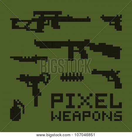 Pixel art weapons vector set