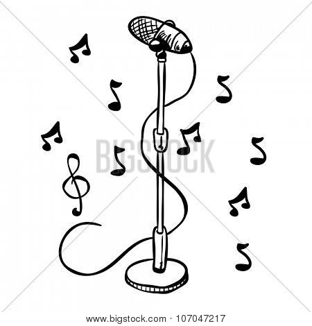 simple black and white microphone on a stand cartoon
