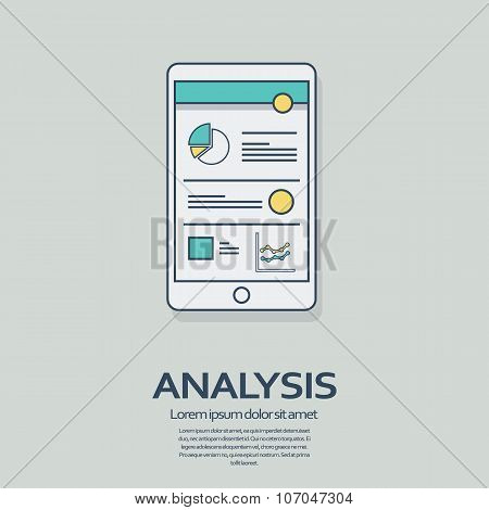 Business analysis background with smartphone and line art icons responsive design. Presentation grap