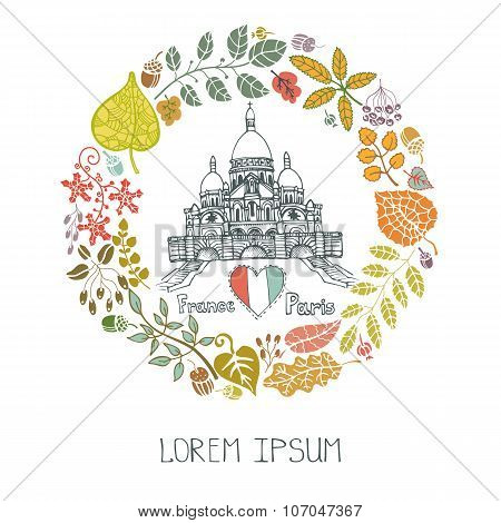 Autumn in Paris.Leaves wreath and Sacre Coeur