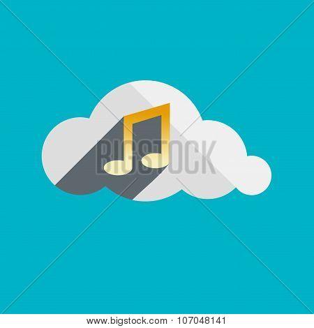 Music In Cloud Flat Design Icon