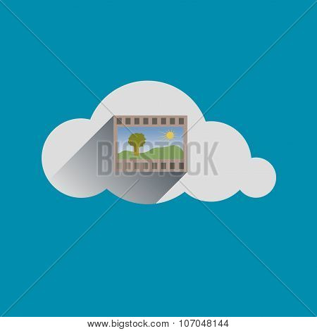 Image In Cloud Flat Design Icon