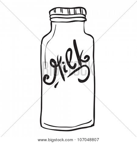 simple black and white milk bottle cartoon