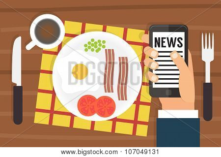 Morning news. Smartphone addiction. Flat design vector
