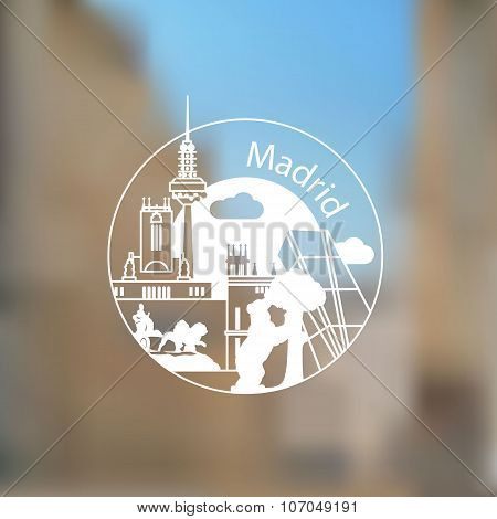 Linear round logo with statue of Bear and strawberry tree and other lanmarks of Madrid, Spain