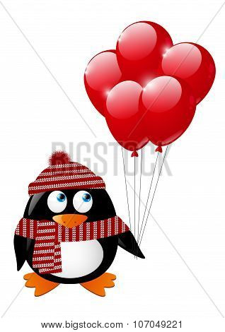 Cute penguin with red balloons
