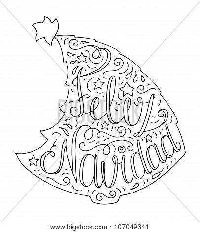 Doodle Typography Poster With Christmas Tree