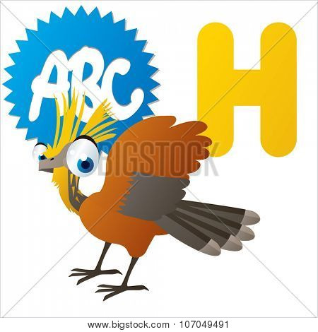 vector cartoon funny animals alphabet: H is for Hoatzin