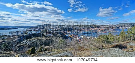 Autumn Panorama Hdr Of The Kragero City And Fjord, Norway