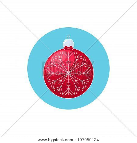 Colorful Icon Christmas Red Ball with Snowflake