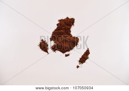 Coffee in the shape of Australia/Oceania