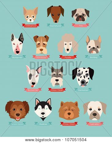 Dog breeds collection with ribbon