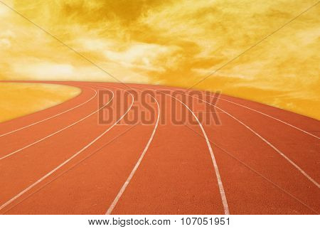 Outdoor Racetrack With Sky Background At Sunset