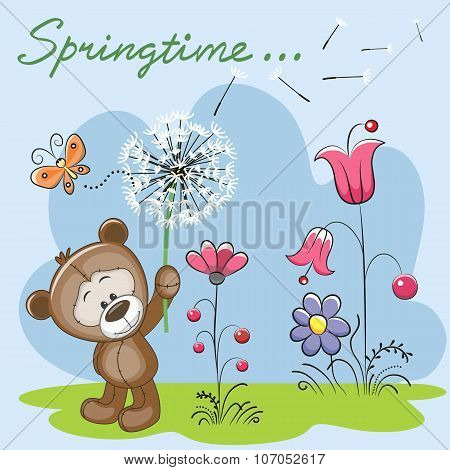 Cute Teddy Bear With Dandelion