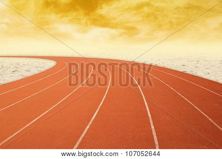 Outdoor Running Track With Desert At Sunset