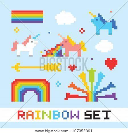 Pixel art rainbow vector set
