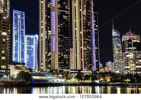 Surfers Paradise cityscape by night closeup