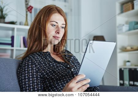 Girl Is Surfing With Laptop At Christmas