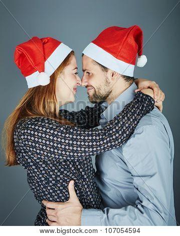 Happy Couple Hug And Love Christmas