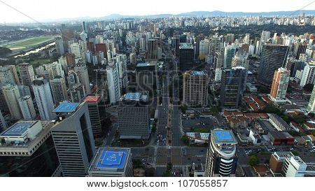 SAO PAULO, BRAZIL -  CIRCA JULY, 2015: Aerial Shot of Avenue Brigadeiro Faria Lima, Sao Paulo, Brazil