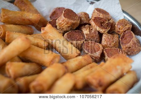 Deep Fried Spring Rolls And Deep Fried Chicken Rolls