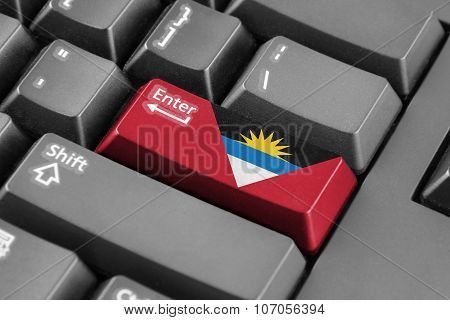 Enter Button With Antigua And Barbuda Flag