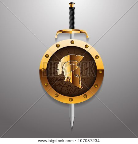 Antiques Roman Or Greek Helmet For Head Protection Soldiers With Sword And Golden Board Vector Illus