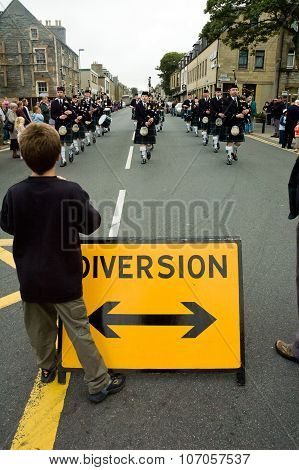 Thurso, Scotland -  August 13 2005. Scottish Traditional Bagpipes Marching Band