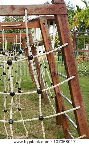 Plaything Made From Wood And Rope
