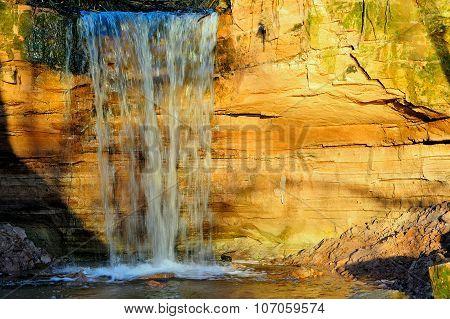 Gorchakovschina Waterfall In Sunset Light