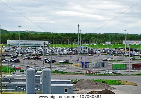 Aerial View Of Airport Auto Crowded Parking Lot In Pulkovo International Airport In Saint-petersburg